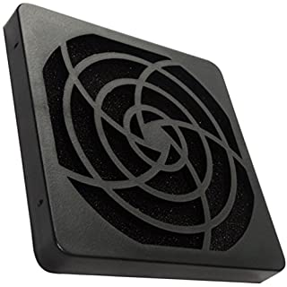 Aerzetix: 2 X Schwarz Schutzgitter Lüftungsgitter 80x80mm Ventilation mit Filter Staub 45ppi für Lüfter Gehäuse Computer PC C15117
