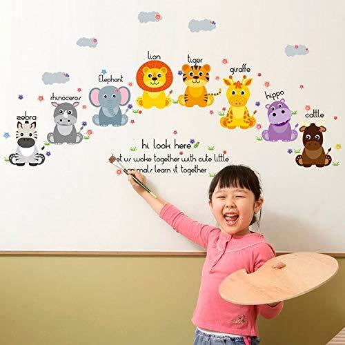 Yirenfeng Cartoon-Kleintier-Wandaufkleber Mit Kindergarten-Kinderzimmer Des Englischen Namenskleinen Aufklebers Nach Belieben
