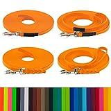 LENNIE BioThane Schleppleine, 15m, Pastell-Orange, 16mm für große Hunde, genäht/geflochten, Handschlaufe & Karabiner wählbar