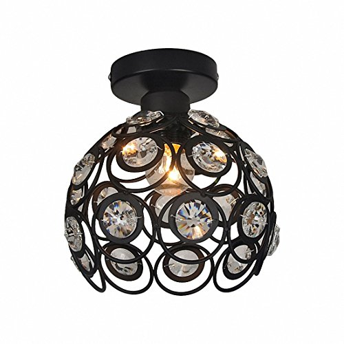 Kreative Deckenleuchte Kugelförmig LED-Lampe E27 Eisen-Kristalllampen-Suspensions Kronleuchter für Aisle Eingangshalle Licht,Schwarz,D30CM -