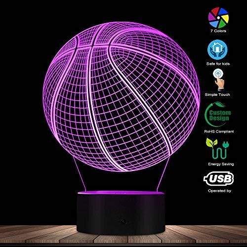 WANQINGW Optische Täuschung des Basketball-3D, die Kunst-LED-Licht-Lampen-Skulptur-Nacht beleuchtet, beleuchtet Sichtlampen-Geschenk des Sport-Ball-3D für Athleten