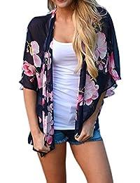 DEELIN Las Mujeres De Estampado Floral Playa Gasa Chal Flojo Kimono Cardigan Blusa De La Cubierta