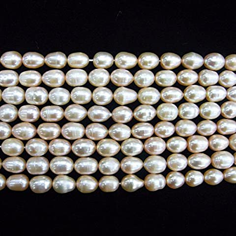TheTasteJewelry 8-9mm Rice Pink Freshwater Cultured Pearl Beads 15 inches 38cm Jewelry Making Necklace