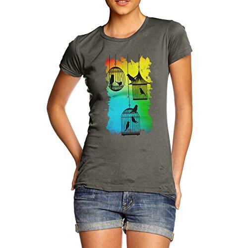 Damen Rainbow Bird Cages T-Shirt Khaki Grün