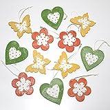 LB H&F 12er Set Holzanhänger Blume Herz Schmetterling Bunt Holz Deko Orange Grün Gelb Zum Aufhängen - IT