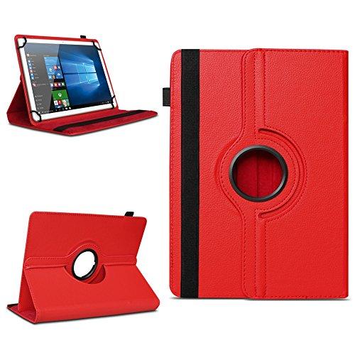 Xido Z120 Z110 X111 X110 Tablet Tasche Schutzhülle hochwertiges Kunstleder Hülle Standfunktion 360° Drehbar Cover Universal Case, Farben:Rot