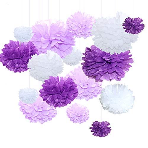 Himeland 15 Seidenpapier Pompons Blumen Ball Dekorpapier Kit für Geburtstag, Hochzeit, Baby Dusche, Parteien, Hauptdekorationen, Partei Dekoration - 12 Stück (Helles Lila, Dunkles Violet und Weiß)