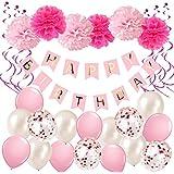 Ohighing Décorations Anniversaire, Anniversaire Bannière Décoration Fête 1 * Banderole Happy Birthday+ 6 Pom Poms + 16 Ballons confettis + 6 Hanging Swirl Decorations pour Filles, Garçons et Adultes