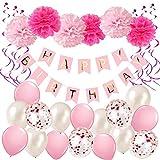 Ohighing GeburtstagsdekoMädchen Rosa Happy Birthday Girlande Pompoms Luftballons Spiralen Geburtstag deko Set