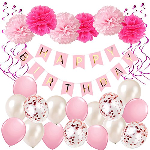 Ohighing Geburtstagsdeko Mädchen Rosa Happy Birthday Girlande Pompoms Luftballons Spiralen Geburtstag deko Set (Minnie Kind Supplies Party)