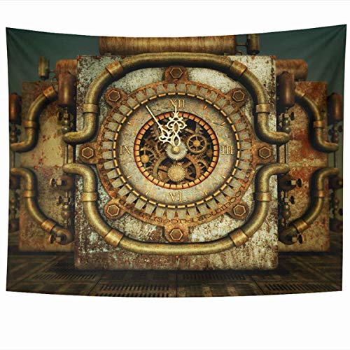 Daawqee Tapiz Wall Hanging 80 x 60 Inches Retro Orange Clock Eleven Fiftyfive Steampunk Cypher Vintage Red Clockwork Fantasy Cylinder Screw Home Tapestries Office Bedroom Living Room Dorm