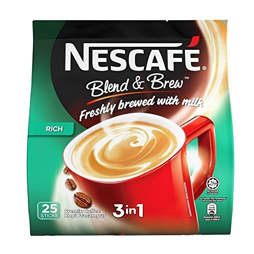 Nestle Nescafe 3 in 1 Blend and Brew Rich Premix Coffee (25 Sticks)