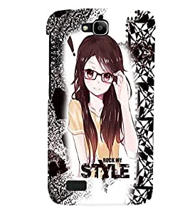 Fuson Style Girl Back Case Cover for HUAWEI HONOR HOLLY - D3644