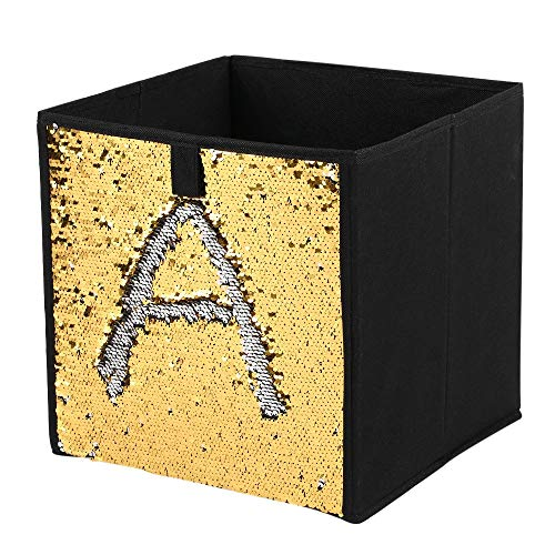 H-ONG Non-Woven Folding Large Cube Storage Bin DIY Sequin Storage Box Household Toys Books Clothes Sundries Organizer (Gold)