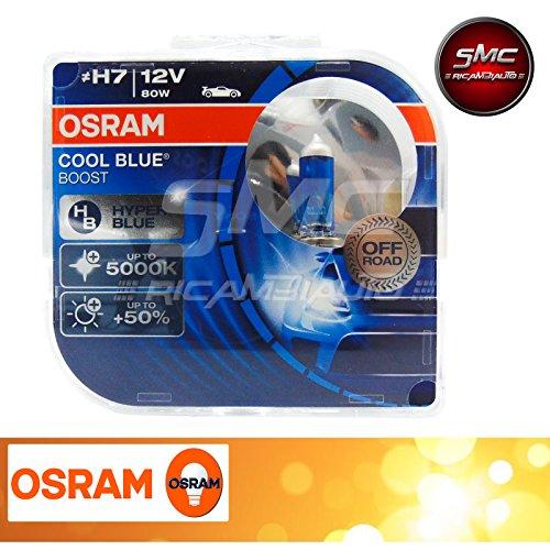 Coppia lampadine osram h7 12v 80w cool blue boost hyper blue 5000k codice 62210cbb-hcb