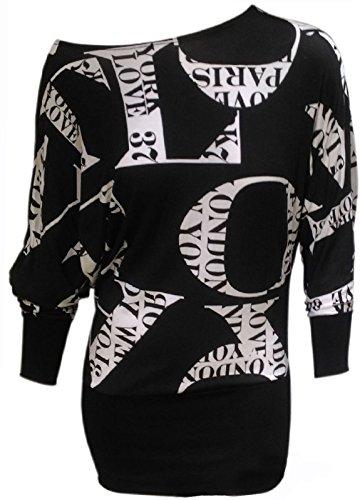 Island Fun Kleider (Damen Love Aufdruck T-Shirt Top Langer Arm Stretch Passform Übergröße EU 50-52)