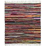 سجادة كليم صناعة يدوية 1 قطعة من بازار مصر - متعددة الالوان، خامة قطن 185 × 185 سم للمطبخ والحمام والأماكن المفتوحة
