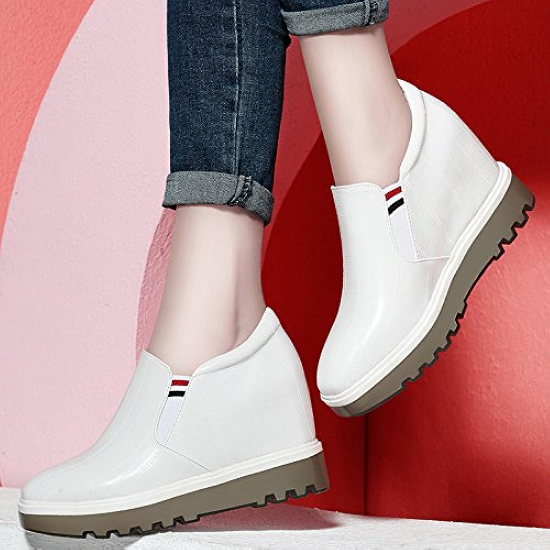 KPHY Zapatos Blancos Primavera Nuevo Cómodo El Aumento en Mujer Lok Fu Zapatos de Ocio Todo a Parche Grueso Solado...