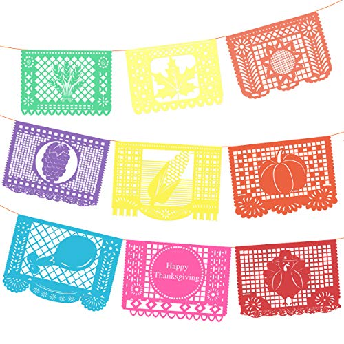 BESTOYARD Erntedankfest Banner Papel Picado Banner Multi-Colored Hängende Fahnen Thanksgiving Party Dekoration 9PCS