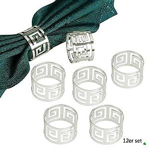 Yalulu 12 Stück Serviettenringe Servietten Halter Banquet Serviette Ring Dinner Hochzeits Weihnachten Dekoration Tischdeko (Silber)