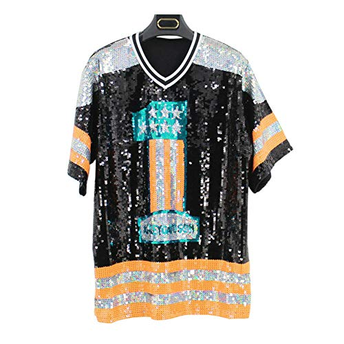 Zhuhaixmy Unisex Hip Hop T-Shirts Pailletten Jazz Tanzen Performance Kostüm Buchstaben Tops Cheerleading Kleidung - Cheerleading Kleidung