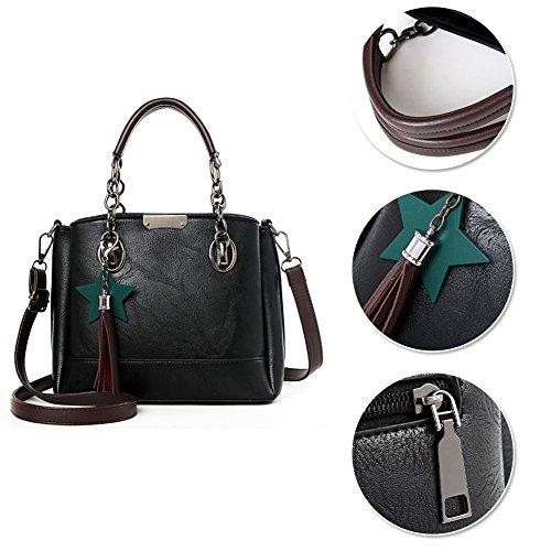 Yoome Chain Bags For Women Borsa a tracolla elegante Borsa a tracolla con nappe borsa punk con stella - Verde Grigio