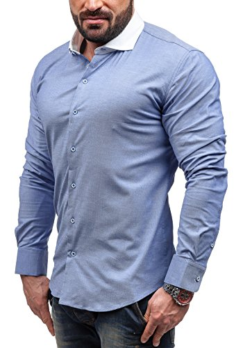 BOLF - Chemise casual – avec manches longues – GLO STORY 9979 – Homme Bleu