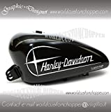 2 ADESIVI DECAL STICKERS GRAPHIC HARLEY DAVIDSON DA SERBATOIO MOTO CUSTOM (NERO LUCIDO)