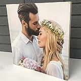 Wood Expression Cuadro Cuadrado en Madera Natural con tu fotografía Personalizado en impresión Calidad fotográfica. (20x20 cm