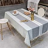 SONGHJ Coton Lin Solide Couleur Gland Nappe Festival Partie Décoration Table Cover Rectangle Étanche Table À Manger Tissu B 140X240cm