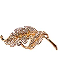 La hoja de magníficos vivacità broche con cristales de Swarovski 18ct calidad chapado en oro para mujer