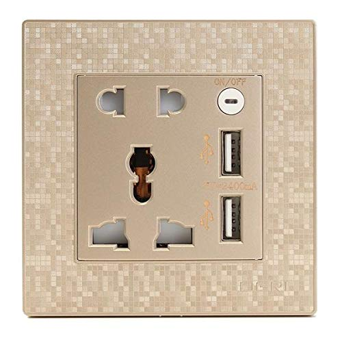 GIlH 250V 5A Universal Round 3Pin Plugs Black White Wall Sockets - Joule 6-outlet Surge Protector