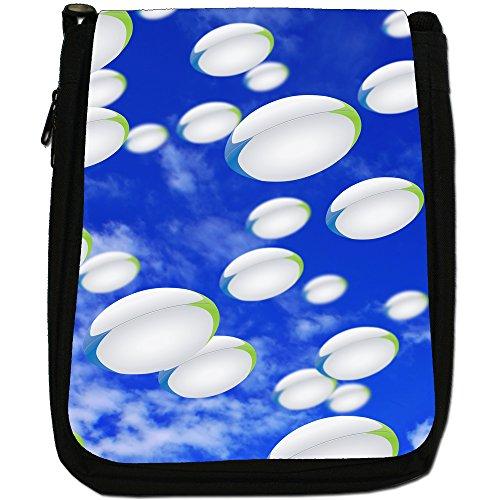 It's Raining-Borsa a tracolla in tela, colore: nero, taglia: M Nero (It's Raining Rugby Balls)