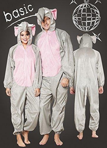 Motto-Party Karneval Kostüm Plüsch Elefant, Onesie, Komplett-Jumpsuit, One Size, Grau (Hot Police Girl Kostüm)