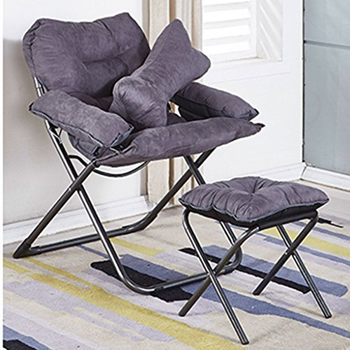 Deluxe Padded Reclining Chair With Footrest Adjustable Camping Fishing Folding Cushion Relax Lazy Chair For Bedroom Living Room Dorm Balcony (Color : GRAY)