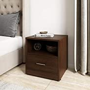 Amazon Brand - Solimo Tucana Engineered Wood Bedside Table with Drawer (Walnut Finish)