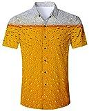 Goodstoworld Freizeithemd Herren Slim Fit Hemd Orange Beer Kurzarm Regular Männer Sommer Freizeit Kleidung Shirt 3D Gold