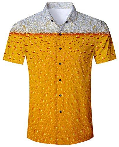 Goodstoworld Hawaiihemd Herren Hemd Gelb Bier Kurzarm Slim Fit Trachtenhemd für Männer Lustige Hemden Modern 3D Druck