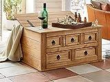 SAM Truhen-Tisch Santa Fe, Kiefernholz, Mexico-Möbel, Couchtisch mit 5 Schubfächern & Einem Stauraum, gewachst, Schwarze Metallgriffe