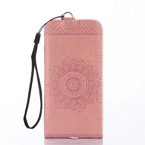 Vertikale Flip Stand Case Brieftasche Pouch Style Cover mit geprägten Blumen Blumen & Lanyard & Card Slots für Samsung Galaxy S8 ( Color : Gold ) Rosegold