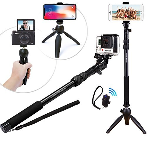 branded Premium HD Selfie Stick & Tripod 3-in-1 Photo Kit for New GoPro, iPhone 6S, 6 Plus, Android or Camera - Bluetooth Shutter w/ Clip & Convenient Carry Bag Included | Universal Fit: Any GoPro Hero (Session/Hero4/3+/3), iPhone (6/6S/Plus/5/4), Samsung Galaxy, and any Smartphone up to 3.5