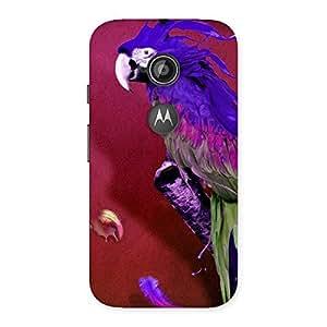 Premium Magic Parrot Multicolor Back Case Cover for Moto E 2nd Gen