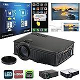 Jiayuane Noir (EU Plug) 1500 Lumens Multimédia Portable Mini LED Projecteur, 800 * 480 Home Cinéma PC USB HDMI AV VGA SD pour Home Cinéma Pour Owlenz SD50 Plus