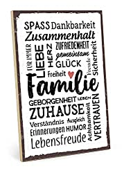 TypeStoff Holzschild mit Spruch - Familie - im Vintage-Look mit Zitat als Geschenk und Dekoration zum Thema Freude, Sicherheit und Achtsamkeit (19,5 x 28,2 cm)