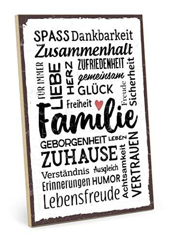 TypeStoff Holzschild mit Spruch - Familie - im Vintage-Look mit Zitat als Geschenk und Dekoration zum Thema Freude, Sicherheit und Achtsamkeit (19,5 x 28,2 cm) (Schilder Familie)