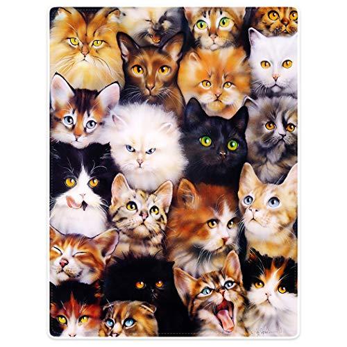 YISUMEI Decke 150x200 cm Kuscheldecken Sanft Flanell Weich Fleecedecke Nettes Katzen Zucht Collagen Haustier Collage Fleece