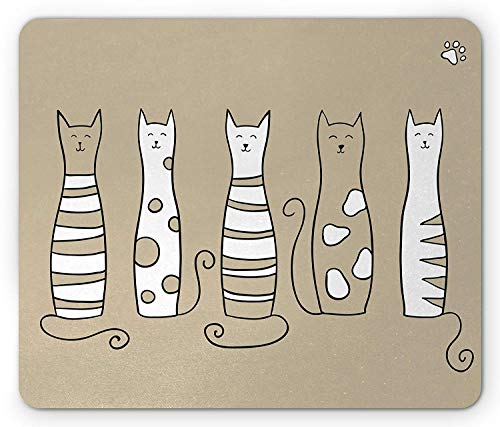 Cat Mouse Pad, Contemporary Graphic of 5 Standing Cats Lovely Meow Character Domestic Humor Art Work, Standard Size Rectangle Non-Slip Rubber Mousepad, Beige White 9.8 X 11.8 inch