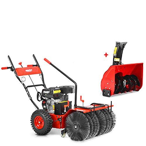 HECHT Benzin-Kehrmaschine 8616 SE Multifunktionsgerät Kehrbesen Kehrbürste + 230V Elektro-Start Funktion (inkl. Schneefräse)