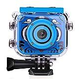Gelrova Appareil Photo pour Enfants, Enfants 1080p HD Rechargeable caméra d'action caméra caméra sous-Marine caméra étanche Cadeau d'anniversaire Festival Jouet pour Enfants avec 2.0' écran LCD