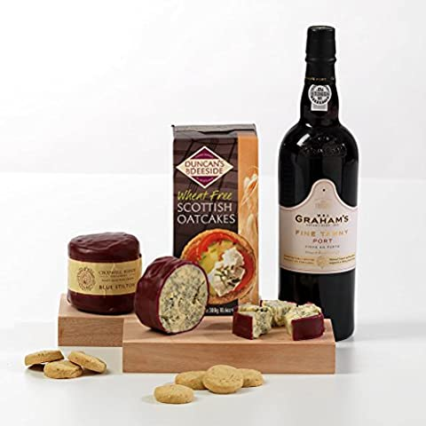 Tawny Port, Stilton and Crackers Hamper Box - Includes UK Delivery